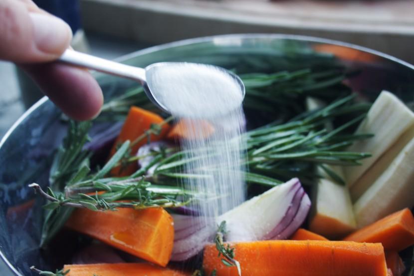 Vegetables and salt
